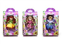 OBL786858 - 8 inch solid body joint fairy Barbie 3 mixed body clothes 1 color 1